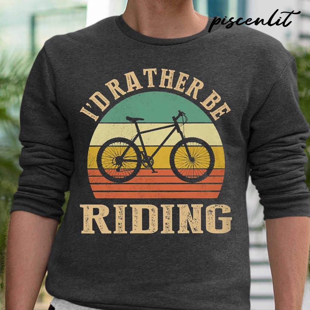 I Rather Be Riding Cyclist Vintage Tshirts Black - from piscenlit.com 1