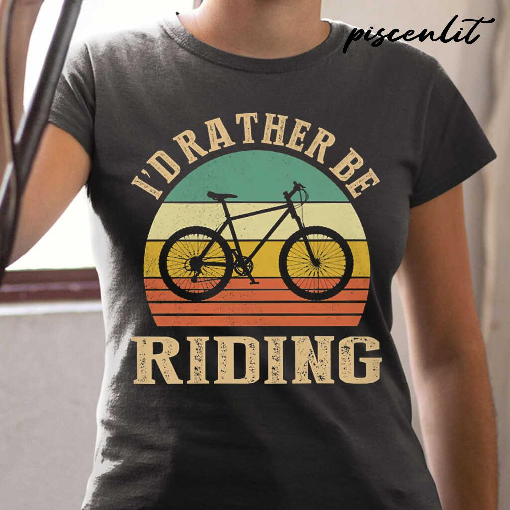 I Rather Be Riding Cyclist Vintage Tshirts Black - from piscenlit.com 2