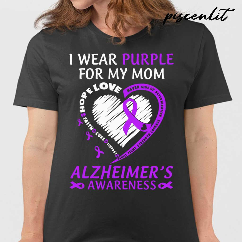 I Wear Purple For My Mom Alzheimers Awareness Tshirts Black - from piscenlit.com 2