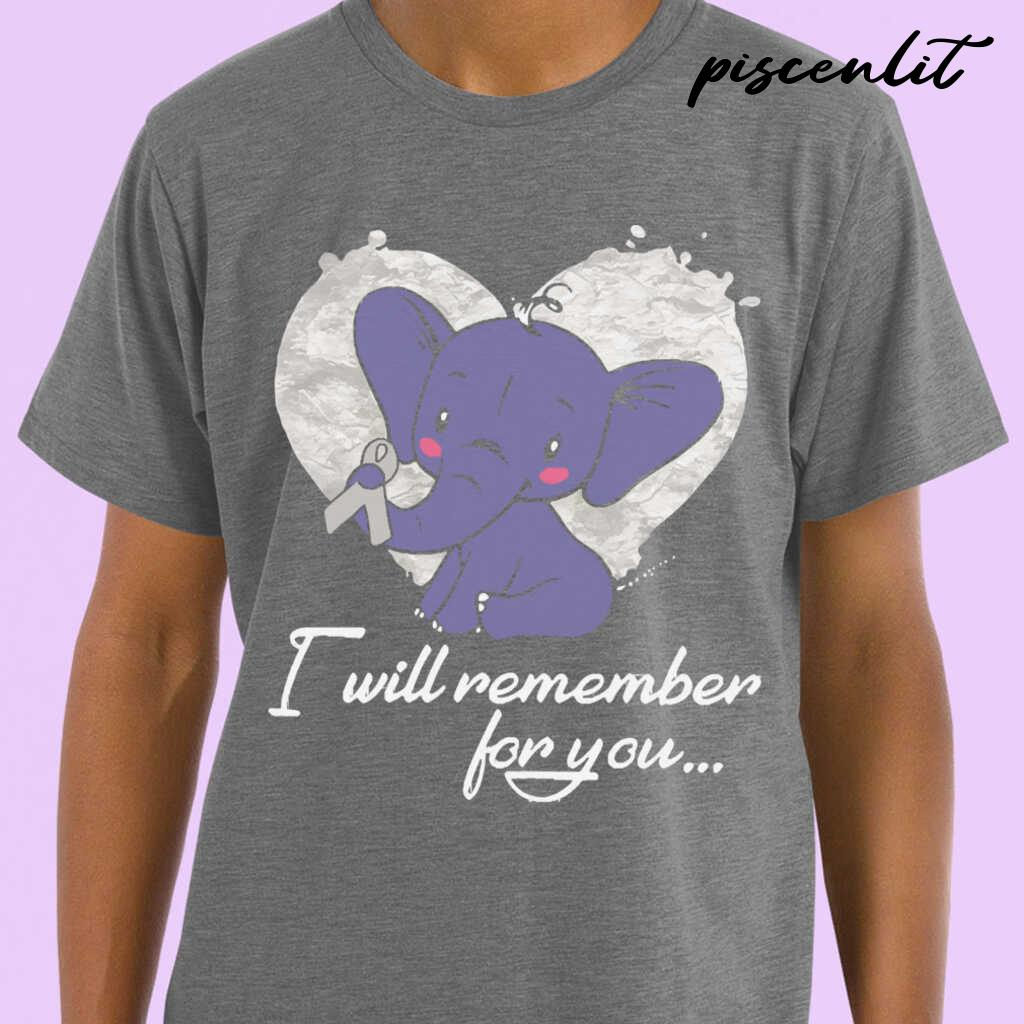 I Will Remember For You Elephant Mesothelioma Awareness Peach Ribbon Warrior Tshirts Black - from piscenlit.com 1