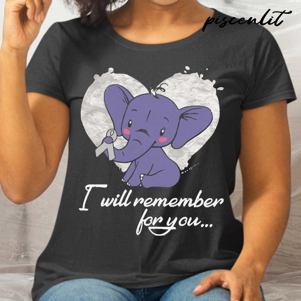 I Will Remember For You Elephant Mesothelioma Awareness Peach Ribbon Warrior Tshirts Black - from piscenlit.com 2