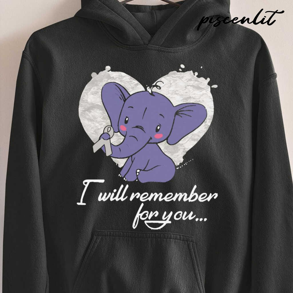 I Will Remember For You Elephant Mesothelioma Awareness Peach Ribbon Warrior Tshirts Black - from piscenlit.com 3