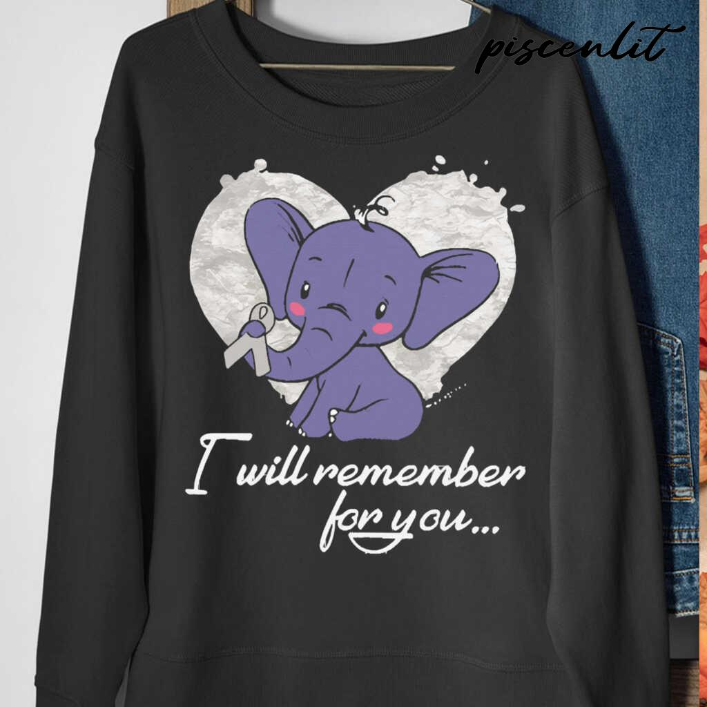 I Will Remember For You Elephant Mesothelioma Awareness Peach Ribbon Warrior Tshirts Black - from piscenlit.com 4