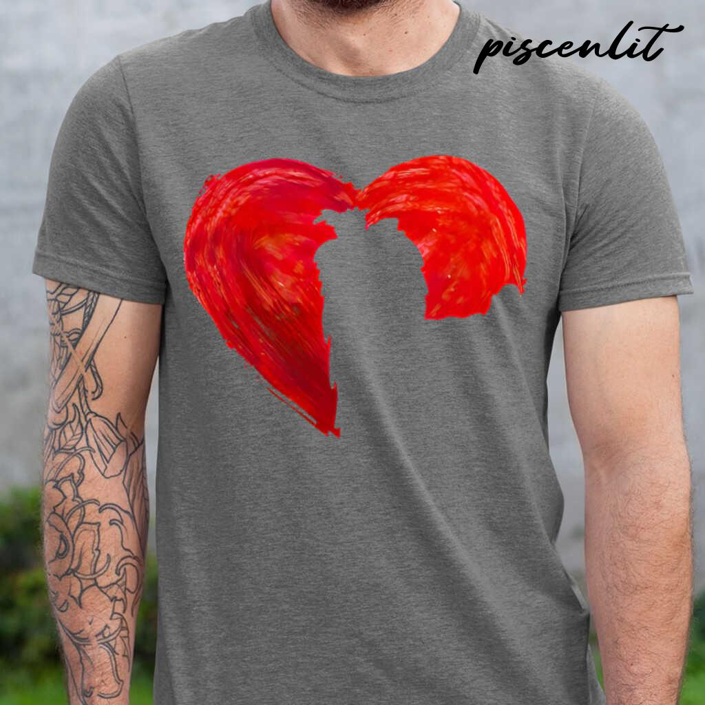 In My Heart Valentine's Day Silhouette Yorkie Tshirts Black - from piscenlit.com 1