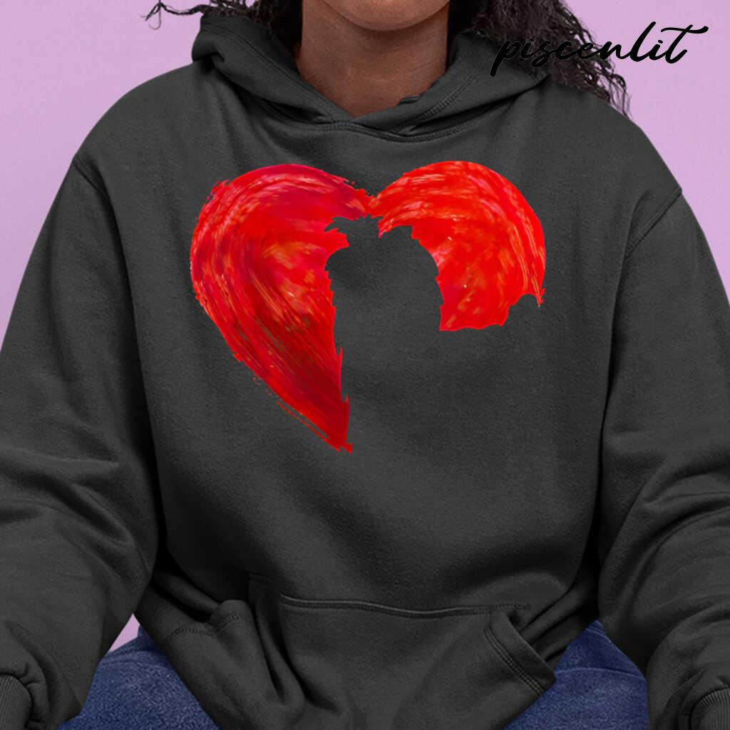 In My Heart Valentine's Day Silhouette Yorkie Tshirts Black - from piscenlit.com 3