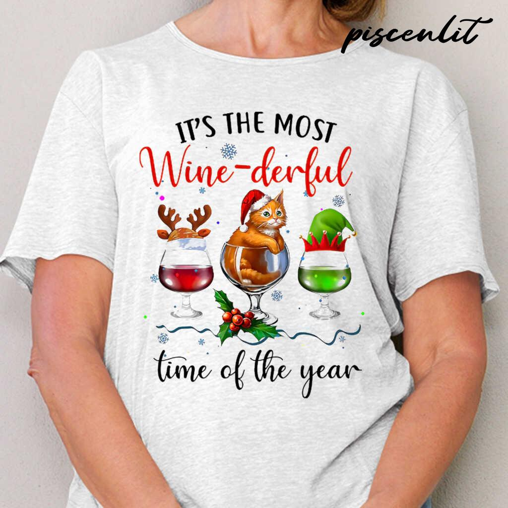 It's The Most Wine-Derful Time Of The Year Christmas Cat Tshirts White - from piscenlit.com 2