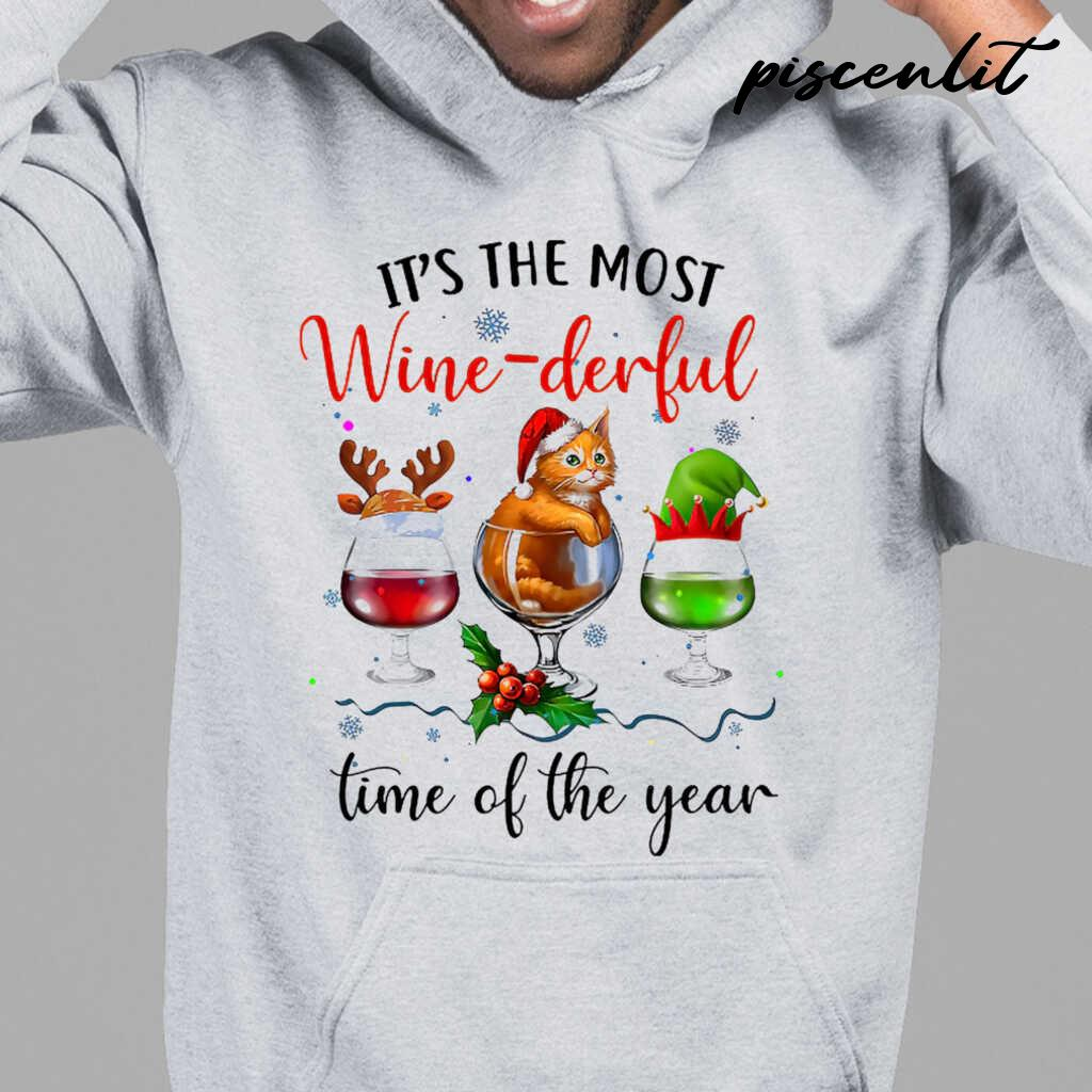 It's The Most Wine-Derful Time Of The Year Christmas Cat Tshirts White - from piscenlit.com 3