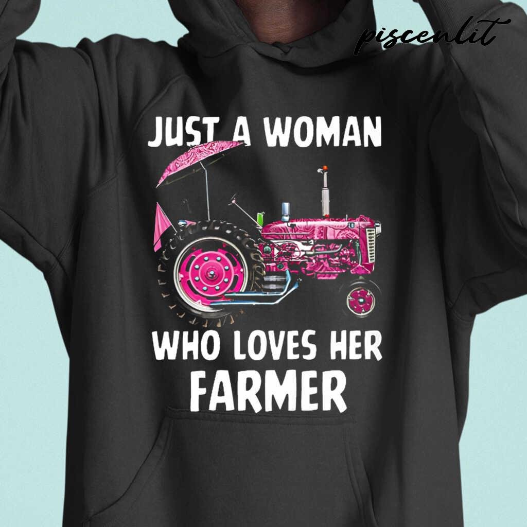 Just A Woman Who Loves Her Farmer Tshirts Black - from piscenlit.com 3