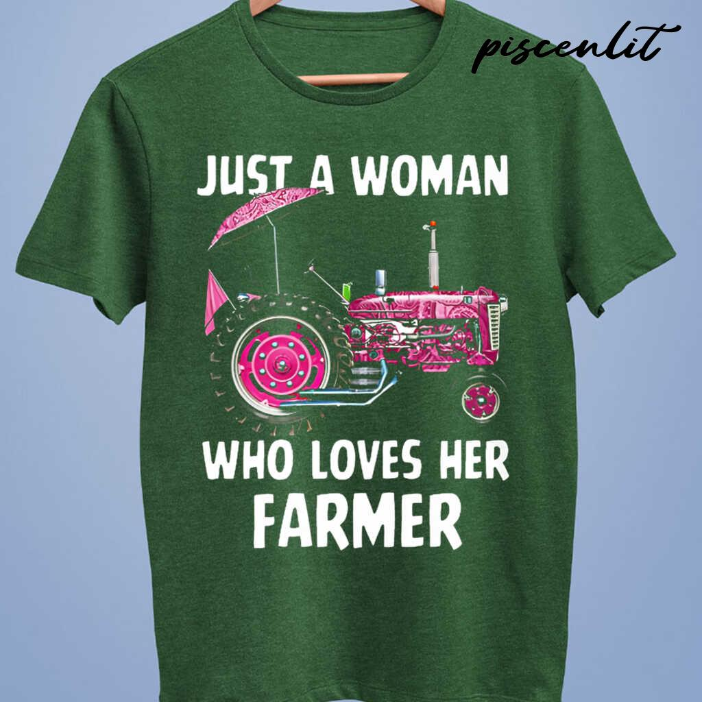 Just A Woman Who Loves Her Farmer Tshirts Black - from piscenlit.com 4