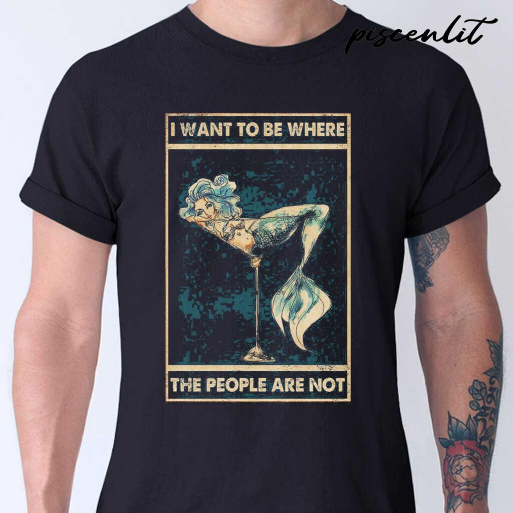 Mermaid I Want To Be Where The People Are Not Tshirts Black - from piscenlit.com 1
