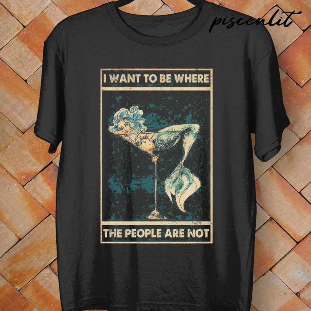 Mermaid I Want To Be Where The People Are Not Tshirts Black - from piscenlit.com 4