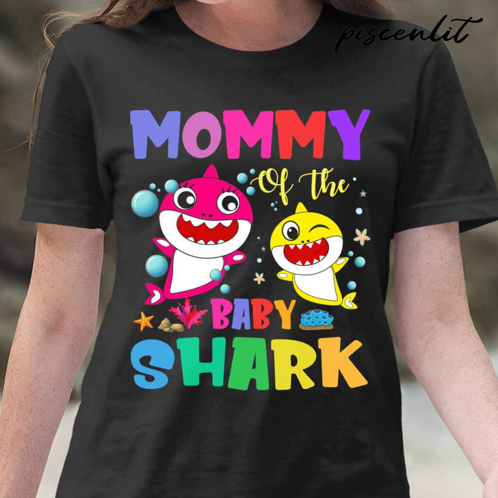 Mommy Of The Baby Sharks Coral Star Tshirts Black - from piscenlit.com 2