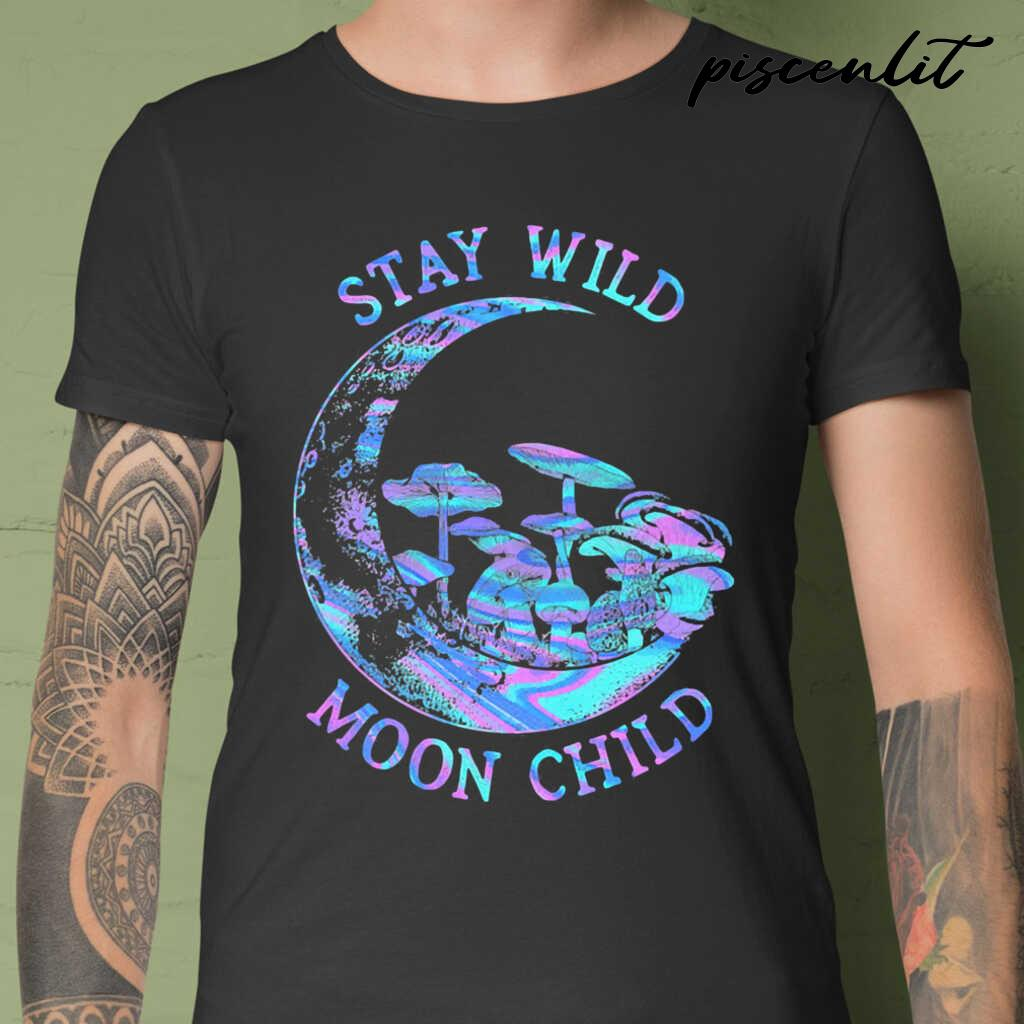 Mushroom Stay Wild Moon Child Colorful Tshirts Black - from piscenlit.com 1