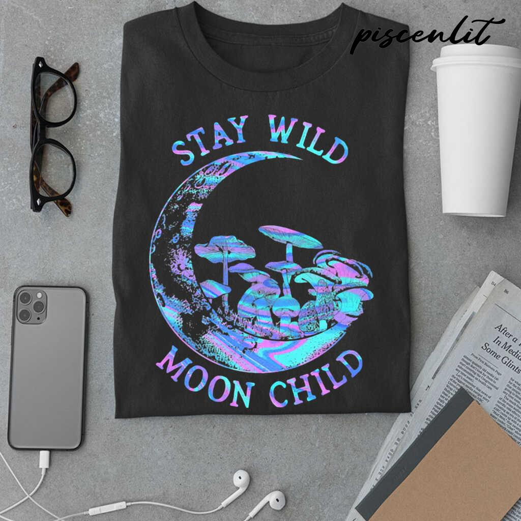 Mushroom Stay Wild Moon Child Colorful Tshirts Black - from piscenlit.com 3