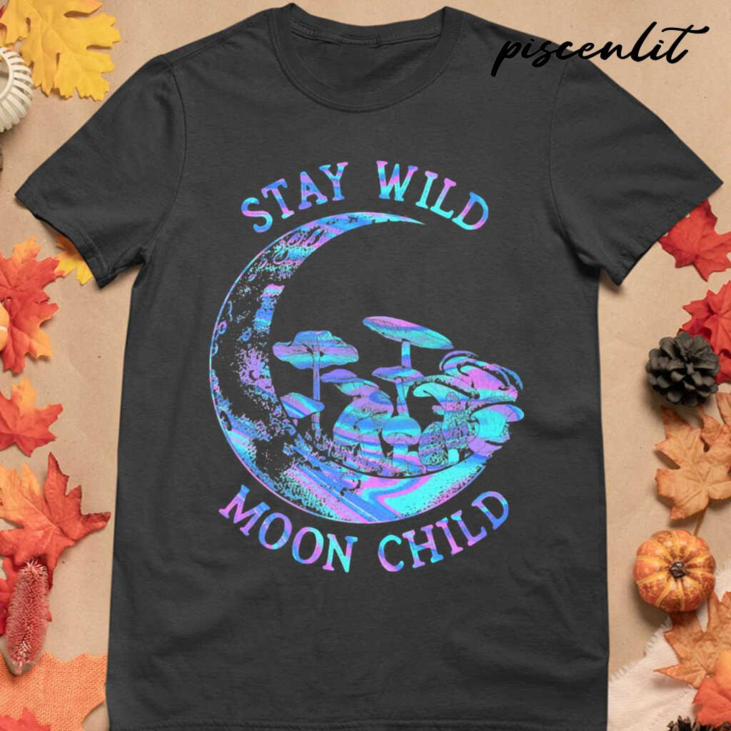 Mushroom Stay Wild Moon Child Colorful Tshirts Black - from piscenlit.com 4