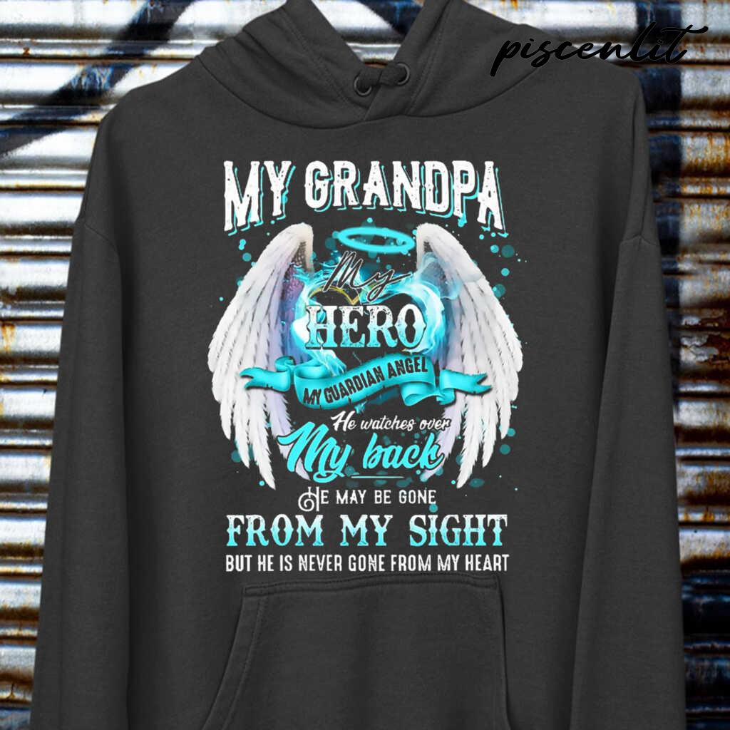 My Grandpa My Hero My Guardian Angel He Watches Over My Back Tshirts Black - from piscenlit.com 3