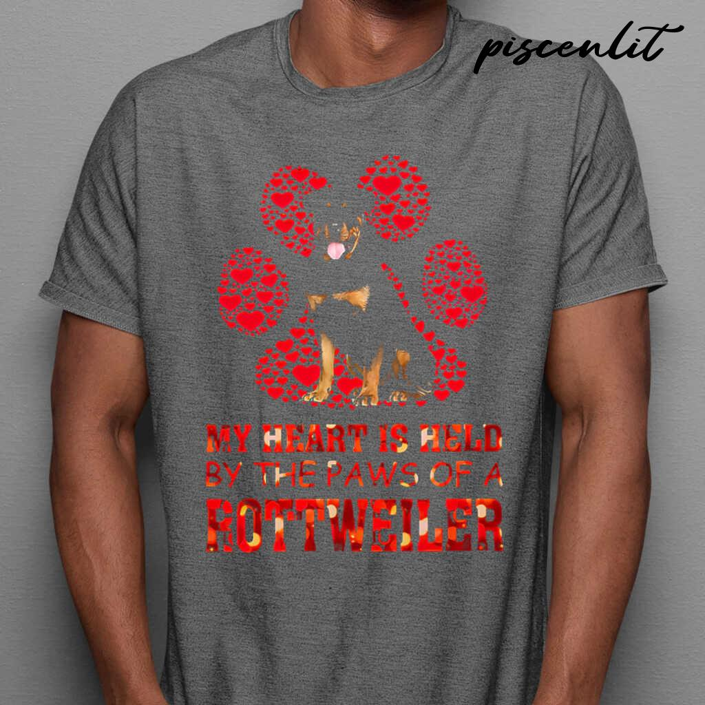 My Heart Is Held By The Paws Of The Rottweiler Tshirts Black - from piscenlit.com 1