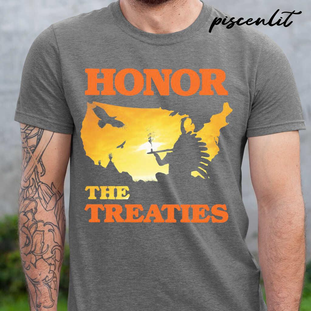 Native Honor The Treaties Sunset Tshirts Black - from piscenlit.com 1
