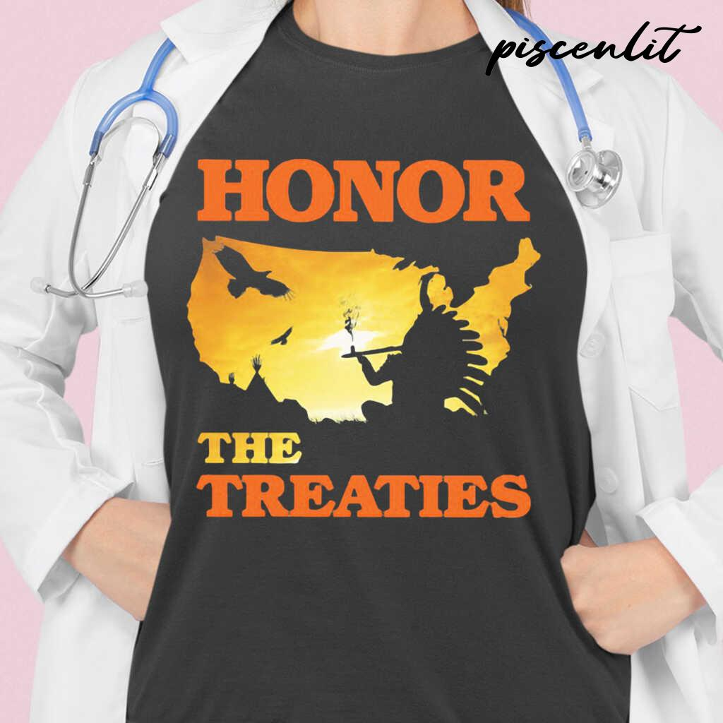 Native Honor The Treaties Sunset Tshirts Black - from piscenlit.com 2