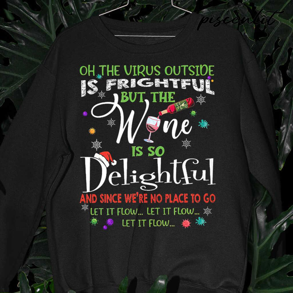 On This Virus Outside Is Frightful But The Wine Is So Delightful Let It Flow Christmas Tshirts Black - from piscenlit.com 3