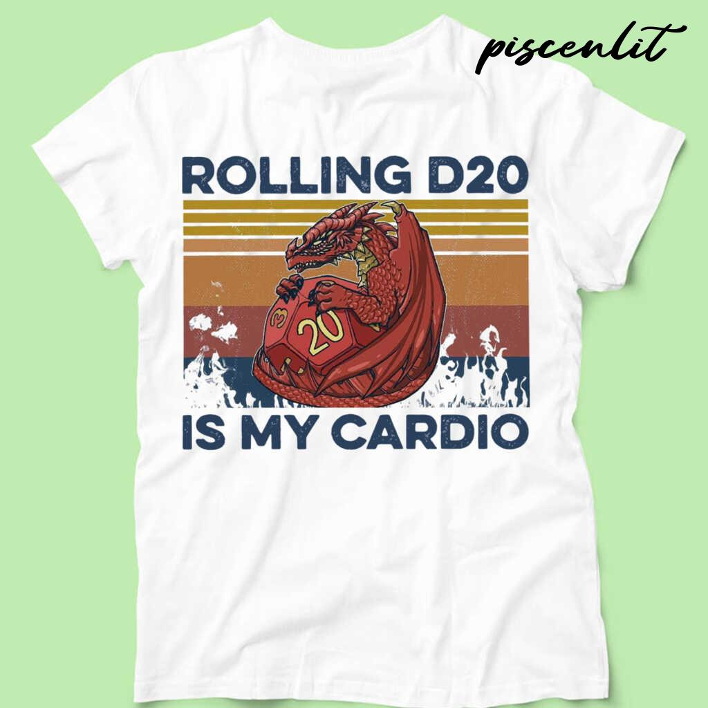 Rolling D20 Is My Cardio Vintage Tshirts White - from piscenlit.com 4