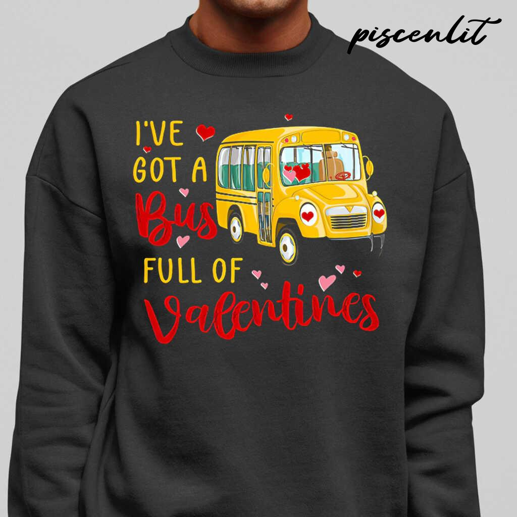 School Bus Driver I've Got A Bus Full Of Valentines Tshirts Black - from piscenlit.com 1