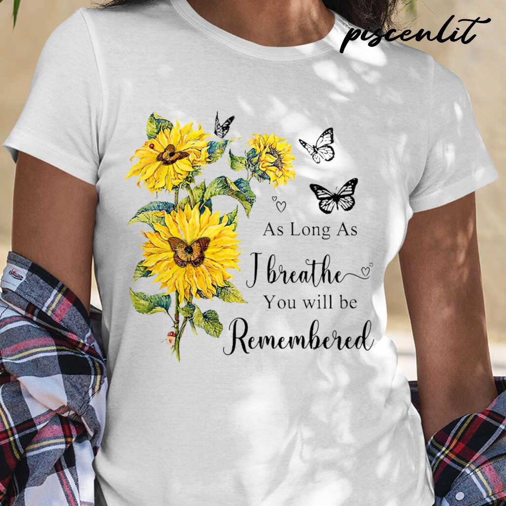 Sunflower Angel In Heaven As Long As I Breathe You Will Be Remembered Tshirts White - from piscenlit.com 2