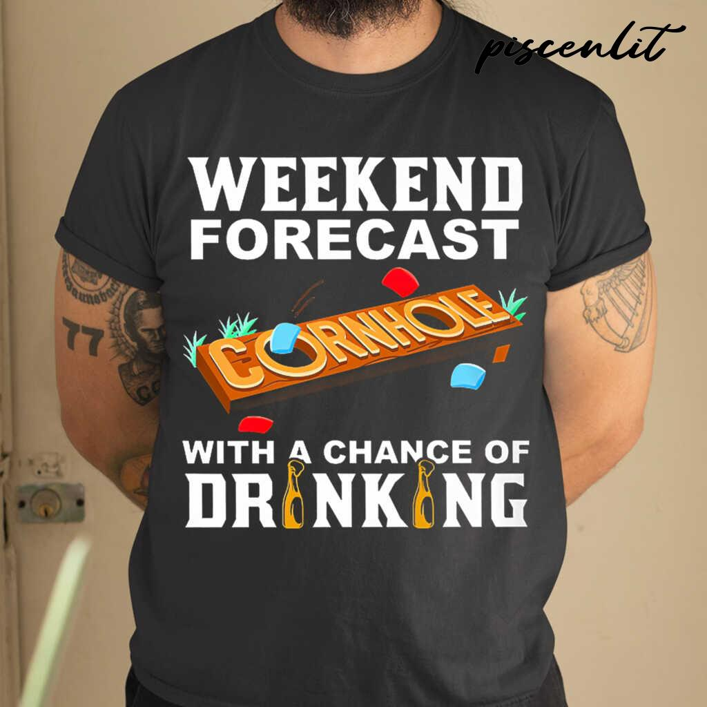 Weekend Forecast Cornhole With A Chance Of Drinking Tshirts Black