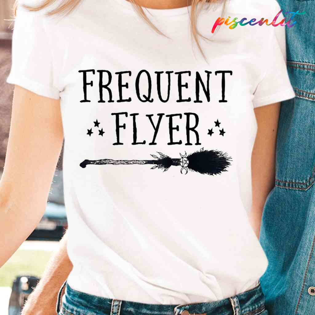 Witch Broomstick Frequent Flyer T-shirts White