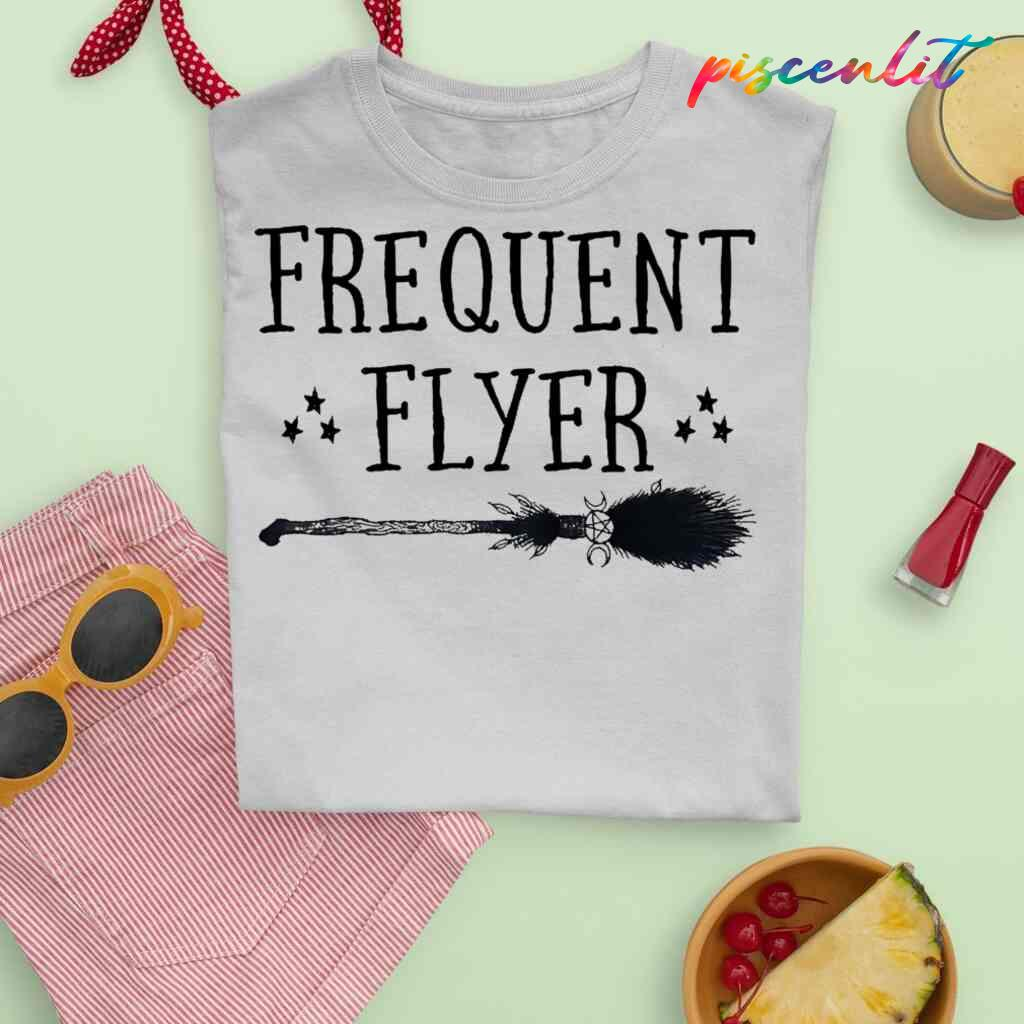 Witch Broomstick Frequent Flyer T-shirts White Apparel White - from piscenlit.com 2