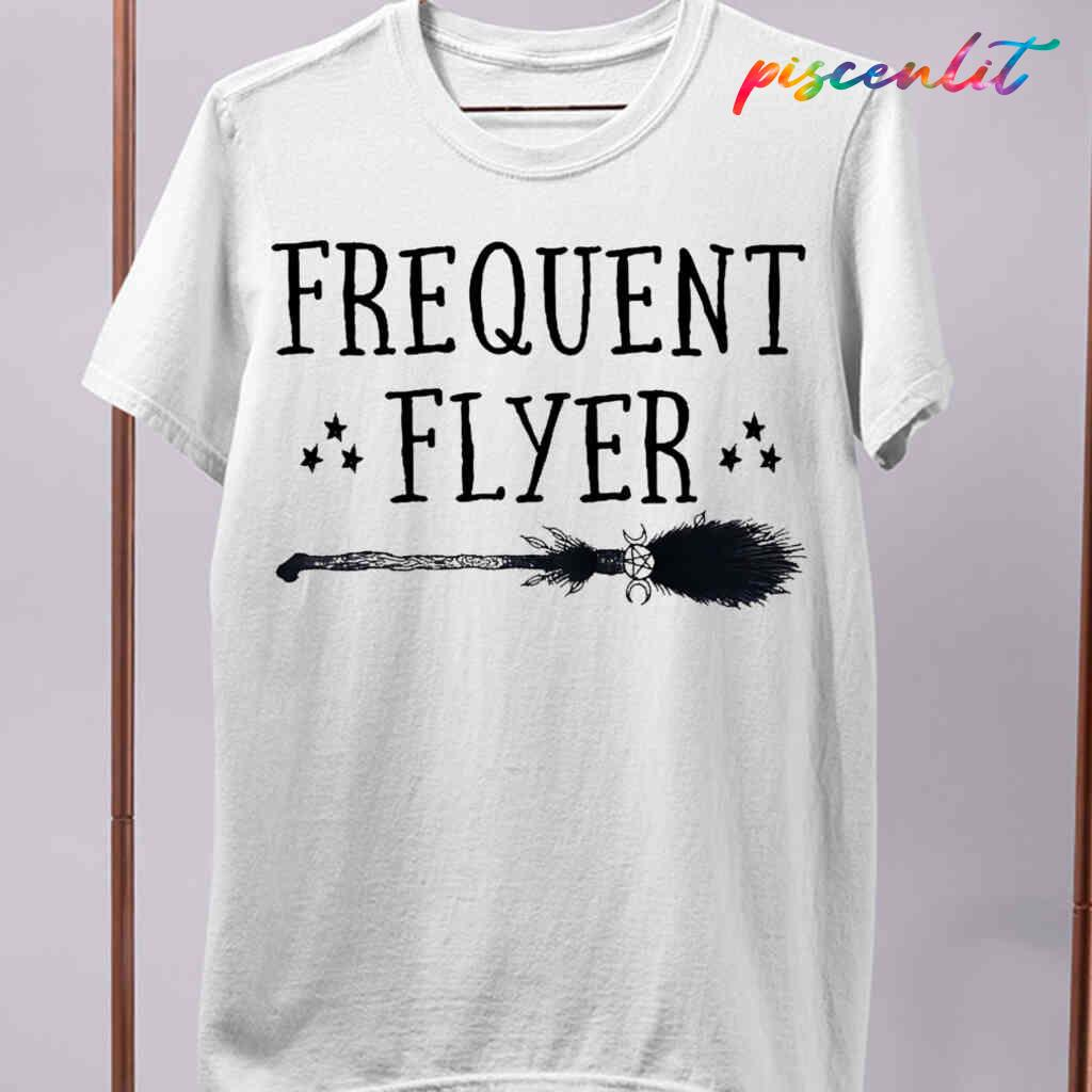 Witch Broomstick Frequent Flyer T-shirts White Apparel White - from piscenlit.com 4